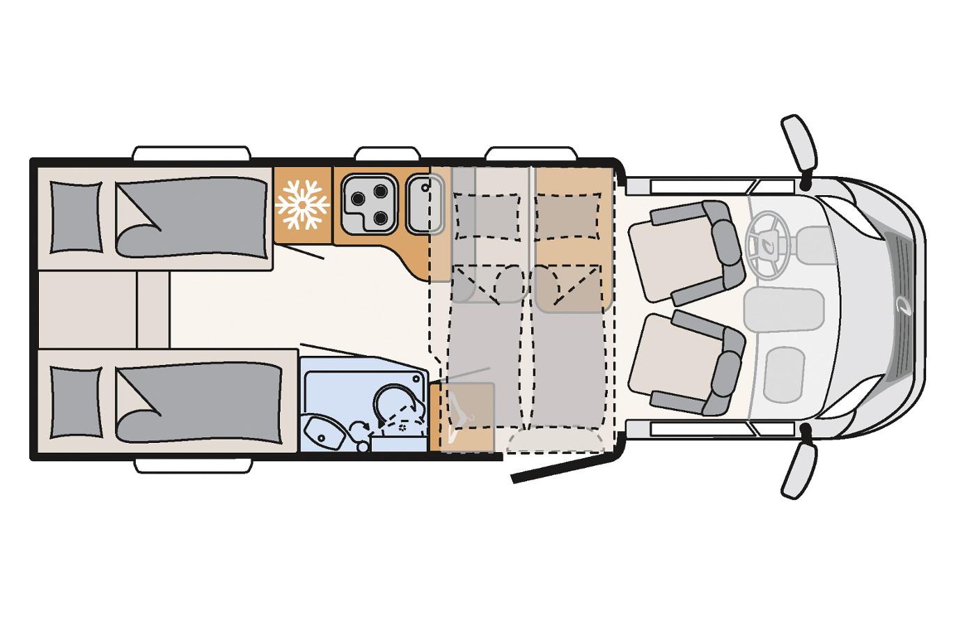 Mietwohnmobil Dethleffs Trend - Grundriss